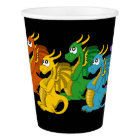 Rainbow colourful dragons cartoon paper cup