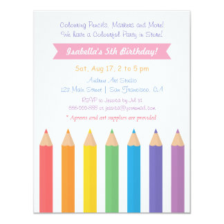 Rainbow Colouring Pencils Arts Kids Birthday Party Card