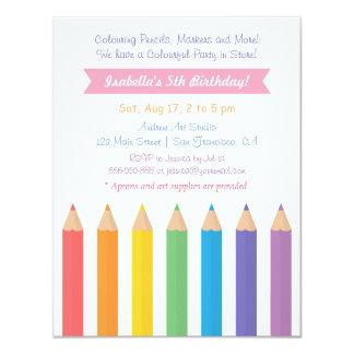 "Rainbow Colouring Pencils Arts Kids Birthday Party 4.25"" X 5.5"" Invitation Card"