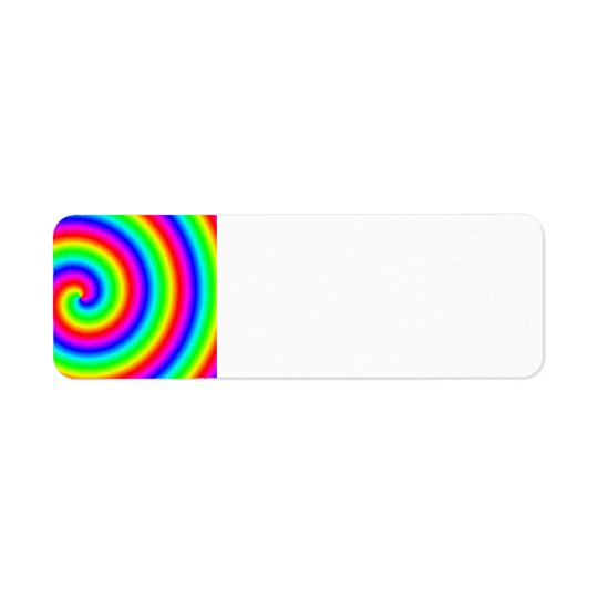 Rainbow Colours. Bright and Colourful Spiral. Return Address Label