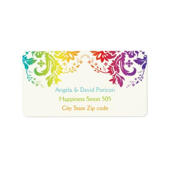 Rainbow colours damask request 1 label
