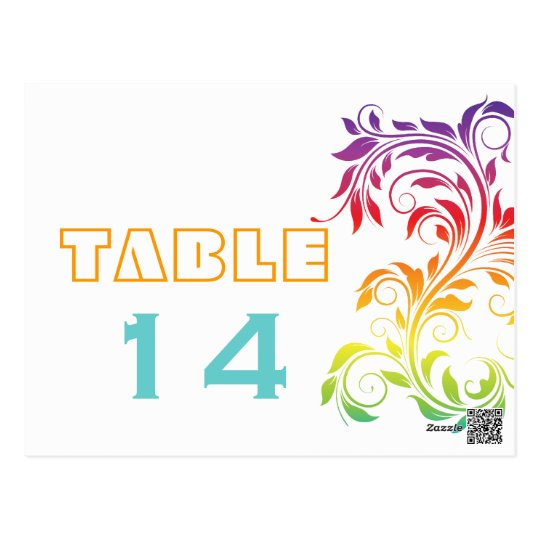 Rainbow colours scroll leaf wedding table number postcard