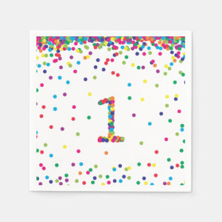 Rainbow Confetti 1st Birthday Napkins Disposable Napkins
