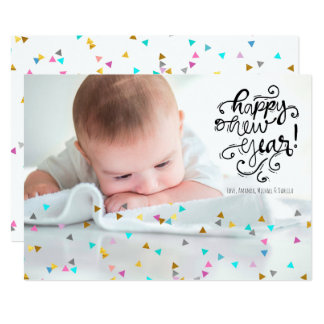Rainbow Confetti Happy New Year Photo Card