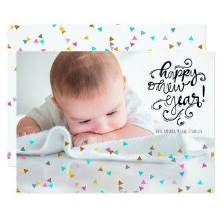 Rainbow Confetti Happy New Year Photo Card