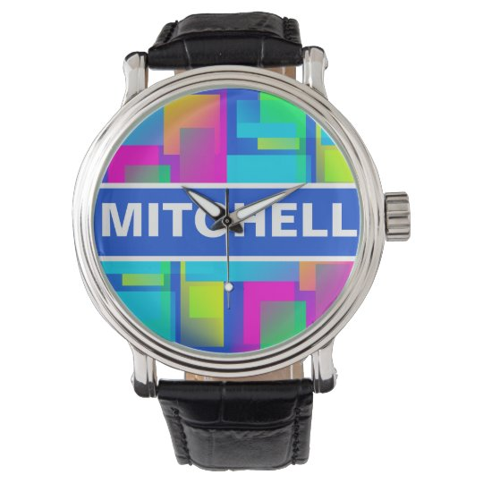Rainbow Confetti Personalized Watches