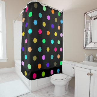 Rainbow confetti polka dots shower curtain