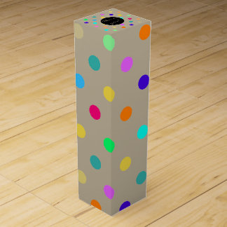 Rainbow confetti polka dots wine gift box