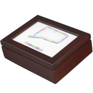 Rainbow Connecticut map Keepsake Boxes