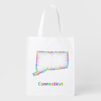 Rainbow Connecticut map Reusable Grocery Bag