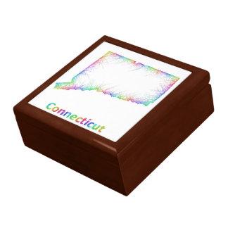 Rainbow Connecticut map Trinket Boxes