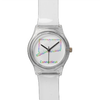 Rainbow Connecticut map Wrist Watches