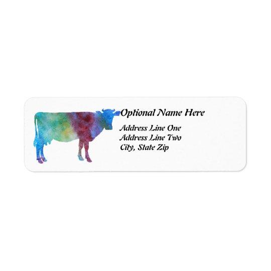 Rainbow Cow With Customizable Text Return Address Label