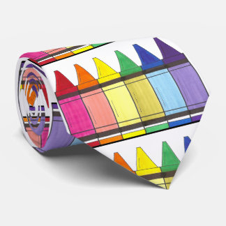 Rainbow Crayons Art Teacher Artist Gift Tie