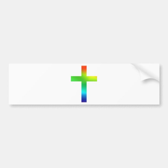 Rainbow Cross Bumper Sticker