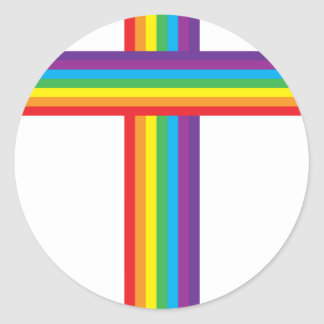 Rainbow CROSS Classic Round Sticker