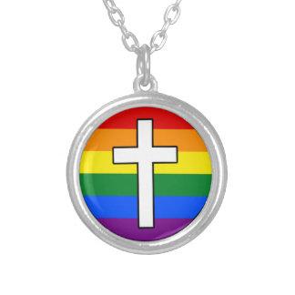 Rainbow Cross Necklace