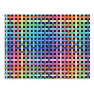 Rainbow Crossed Pattern Postcard