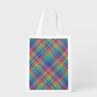 Rainbow Crossed Pattern Reusable Grocery Bag