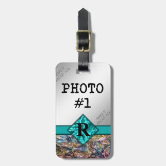 Rainbow Crystals with Monogram and Your Photos Luggage Tag