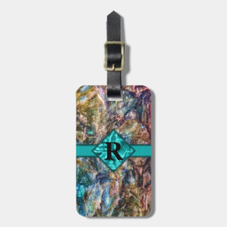 Rainbow Crystals with Monogram Luggage Tag