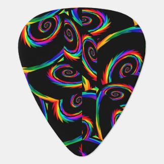Rainbow Cubic Black Spiral Fractal Guitar Pick