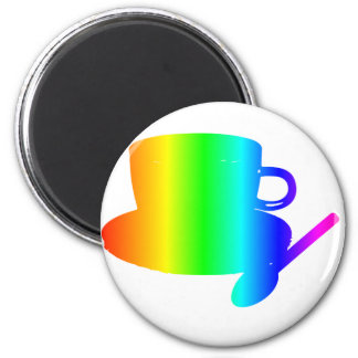Rainbow Cup, Saucer, Spoon 2 Inch Round Magnet