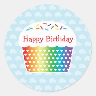 Rainbow Cupcake Birthday Sticker