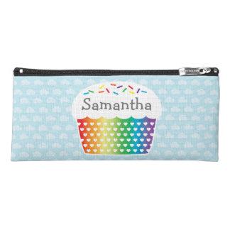 Rainbow Cupcake Custom Name Pencil Case
