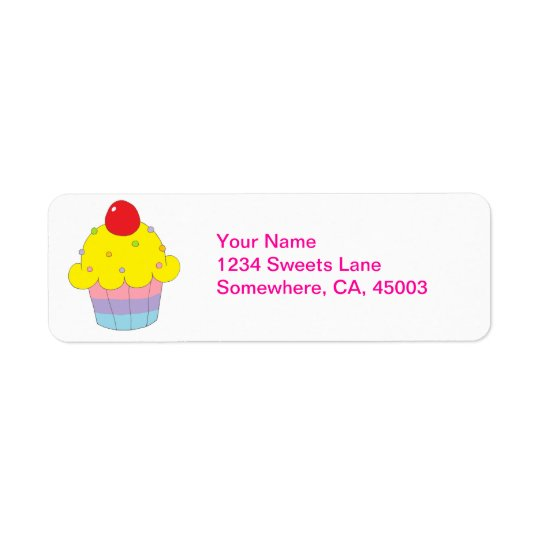 Rainbow Cupcake Return Address Label