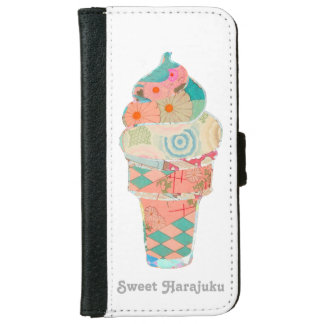 Rainbow Custard Ice Cream Pink Cone iPhone 6 Wallet Case