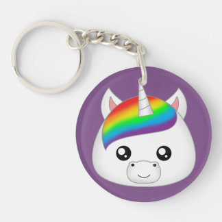 Rainbow Cute Kawaii Unicorn Face Head Keychain