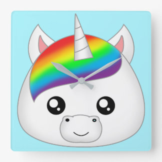 Rainbow Cute Kawaii Unicorn Face Head Square Wall Clock