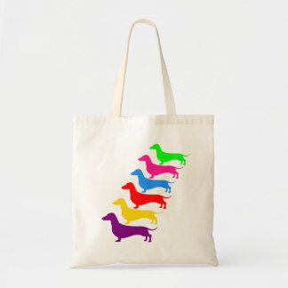 Rainbow Dachshund Tote Colorful Doxie Bag