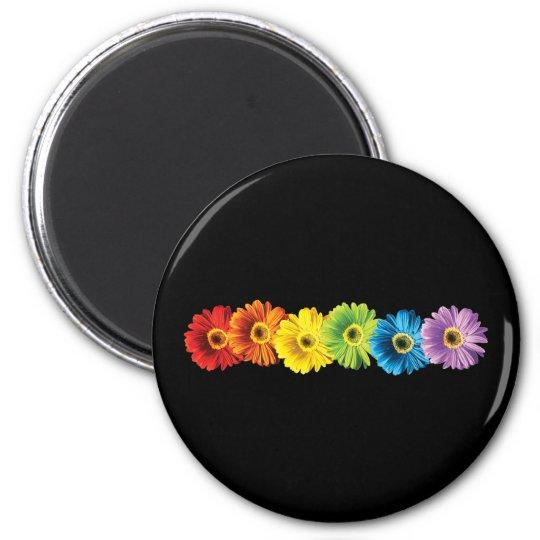 Rainbow Daisies 2 Inch Round Magnet