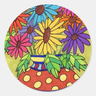 Rainbow Daisies in Designer Vase Round Sticker