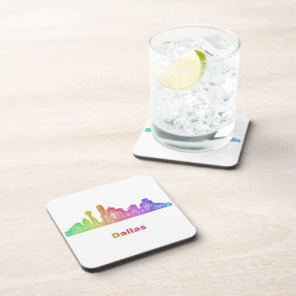 Rainbow Dallas skyline Beverage Coasters