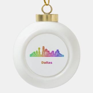 Rainbow Dallas skyline Ceramic Ball Ornament