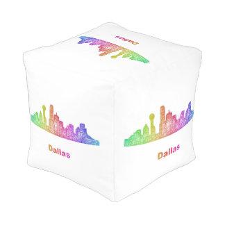 Rainbow Dallas skyline Pouf