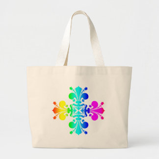 Rainbow damask super cute punk large tote bag
