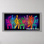 Rainbow Dancing Figures Poster