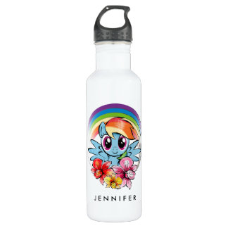Rainbow Dash | Floral Watercolor Rainbow 710 Ml Water Bottle