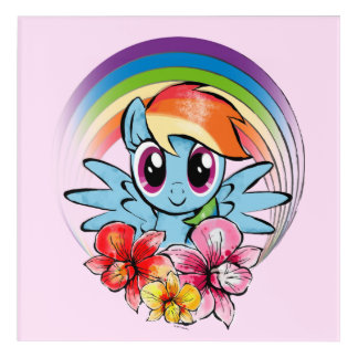 Rainbow Dash | Floral Watercolor Rainbow Acrylic Print