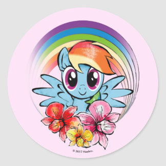 Rainbow Dash | Floral Watercolor Rainbow Classic Round Sticker
