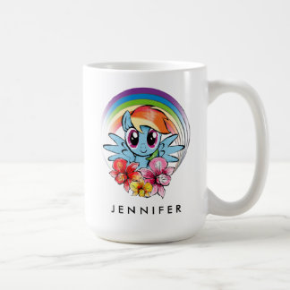 Rainbow Dash | Floral Watercolor Rainbow Coffee Mug