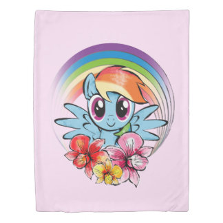 Rainbow Dash | Floral Watercolor Rainbow Duvet Cover
