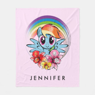 Rainbow Dash | Floral Watercolor Rainbow Fleece Blanket