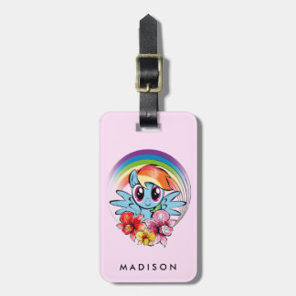 Rainbow Dash | Floral Watercolor Rainbow Luggage Tag