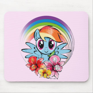 Rainbow Dash | Floral Watercolor Rainbow Mouse Pad