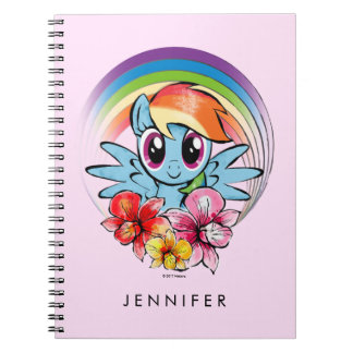 Rainbow Dash | Floral Watercolor Rainbow Spiral Notebook